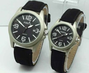 497 jam tangan couple fossil cw6300 leather black