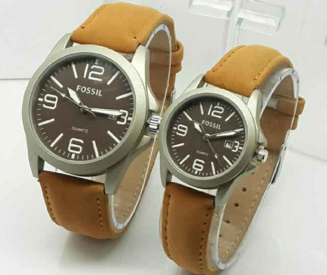498 jam tangan couple fossil cw6300 leather light brow