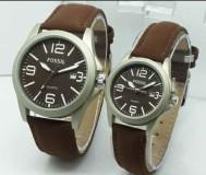 Jam Tangan Couple Fossil CW6300 Leather Dark Brown 9XFD