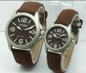Jam Tangan Couple Fossil CW6300 Leather Dark Brown 9XFD