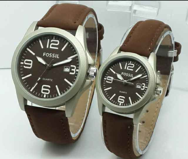 499 jam tangan couple fossil cw6300 leather dark brown